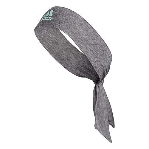 adidas Alphaskin Tie Headband, Heather Grey/Clear Mint, One Size