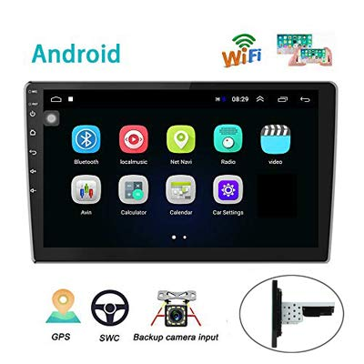 Android Car Radio GPS Sat Navi 10 Inch 2.5D Glass Touch Screen AMprime Stereo Player Bluetooth WiFi FM Receiver Mobile Phone Mirror Link Dual USB + Backup Camera