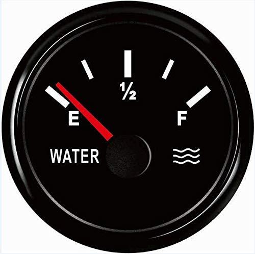 no-branded Kraftstoffanzeige 52mm Wasserstandanzeiger 9-32V Schwarz Wasserpegelmesser 0-190ohm 240-33ohm Geeignet for Auto Ships CGFEUR (Color : 0 190ohm, Size : Kostenlos)