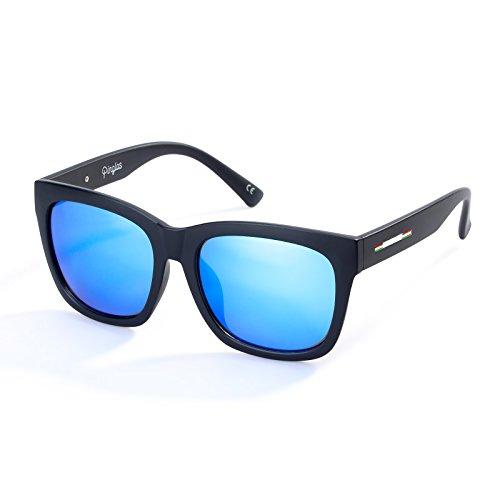 Colossein Classic Polarized Sunglasses For Men Square Black Frame Mirrored UV400 Lens(Blue)