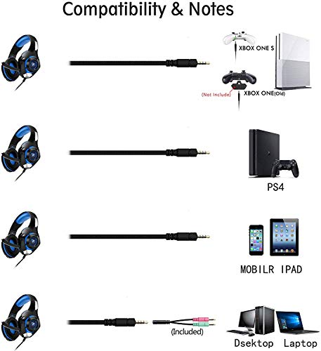 Beexcellent Gaming Headset for PS4 Xbox One PC Mac Controller Gaming Headphone with Crystal Stereo Bass Surround Sound, LED Light