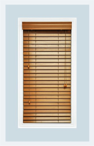 Custom-made, premium real wood horizontal window blinds, 2 inch slats,...