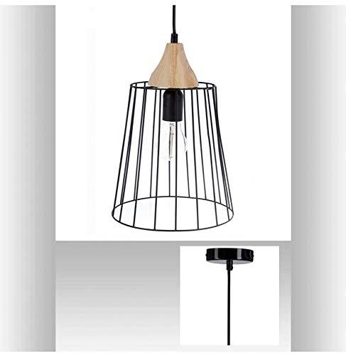 Suspension lustre en fil métal et bois - Diamètre 23 cm - Style vintage - Coloris Noir et Bois