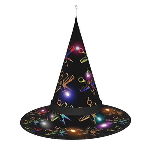 Sombrero de Bruja de Halloween para Mujer, Peine de Tijeras, Gorro de Estilista para Fiesta, Disfraz de Cosplay, Accesorio Diario