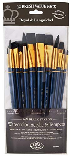Royal & Langnickel - 9300 Series 10760:Zip N' Close 12-Piece Black Taklon Brush Set 1 - RSET-9301