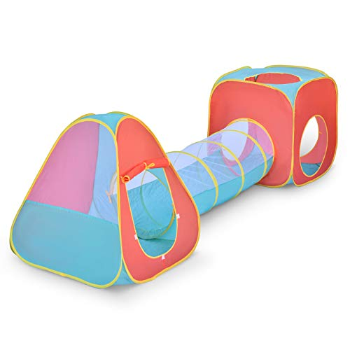 FUN LITTLE TOYS 3 Pieces Play Tent for Kids, Ball Pit, Play Tunnel, Play House, Children Pop Up Tent for Indoor & Outdoor