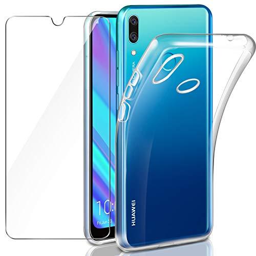 Leathlux Huawei Y7 2019/ Y7 Prime 2019 Hülle + Panzerglas, Huawei Y7 Prime 2019 Durchsichtig Hülle Transparent Silikon TPU Schutzhülle Premium 9H Gehärtetes Glas für Huawei Y7 2019/ Y7 Prime 2019