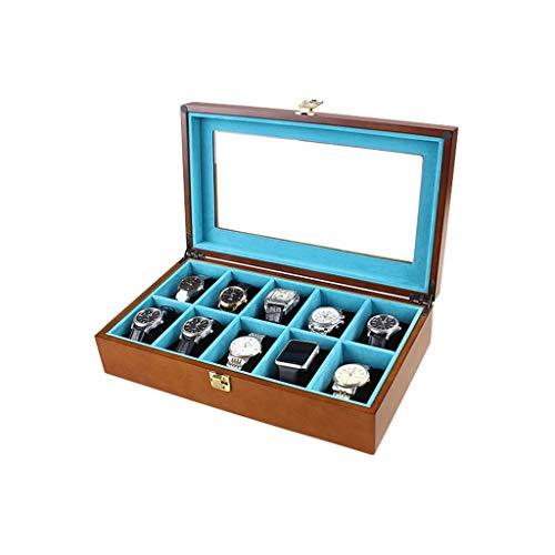 Caja de reloj Almacenamiento de joyas Exquisita caja de madera para reloj-Soporte de exhibición / Juego de caja / Caja de colección / Caja de almacenamiento para joyería Relojes-10 rejillas Caja de presentación de reloj con tapa de vidrio
