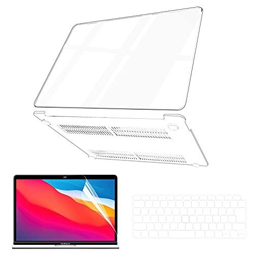 【2020改良型 M1チップモデル】MacBook Air ケース 13インチ 用 2018-2020モデル (A2337 A2179 A1932)日本語配列キーボードカバー(A2337/A2179)付 +液晶保護フィルム付 排熱口設計 キズ防止 汚れ対策 MacBook Air 13 ケース 全面保護 ケース+キーボードカバー+液晶保護フィルム