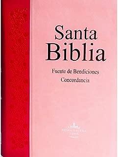 Santa Biblia Fuente de Bendiciones de Promesas, Compacta (pequeña) y concordancia, Reina-Valera 1960, imitación piel, duotono rosa y fucsia, con índice