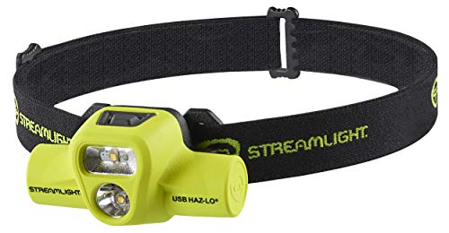 Streamlight 61463 USB HAZ-LO 250-Lumen Intrinsically Safe Rechargeable Headlamp with 120V AC Charge Cradle, Elastic Head-Strap, Rubber Hard-Hat Strap and 3M Dual Lock, Yellow