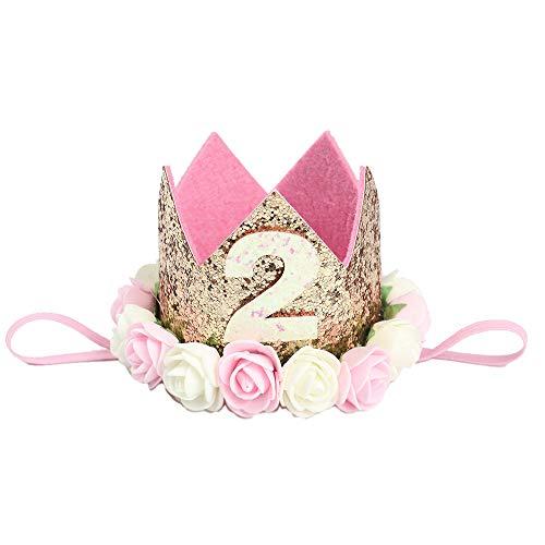 MINGZE Cappellino Compleanno Fascia, Baby Princess Bambina dei Capelli Corona Principessa Neonata Sparkle Gold con Fiore Artificiale Rosa Birthday Hat (2)