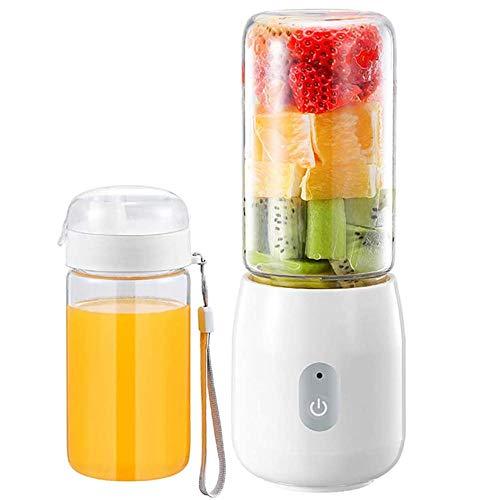Exprimidor de carga USB, máquina de batidos personal 380 ml mini licuadora de frutas eléctrica de vidrio, adecuada para frutas, verduras, batidos-blanco