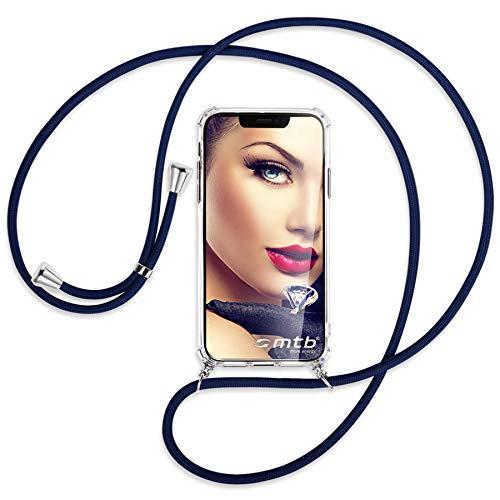 mtb more energy Collar Smartphone para Motorola Moto E7 Plus, E7+ (6.5'') - Azul Oscuro - Funda Protectora ponible - Carcasa Anti Shock con Cuerda Correa