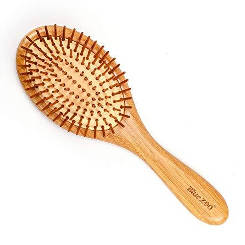 Brosse à cheveux en bois naturel de palette, brosse à cheveux en bambou écologique, antistatique pour réduire le peigne pour le cuir chevelu Frizz-Stimulate et massage pour femmes, hommes