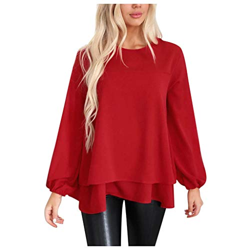 iYYVV Women Chiffon Layered Shirt Turtleneck Office Wear Long Sleeve Tunic Tops Blouse