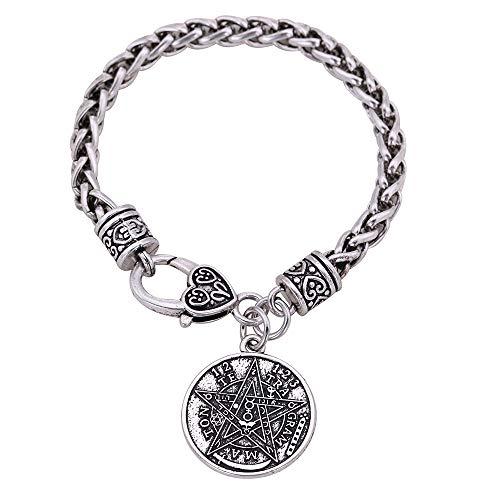 Cooltime - Pulsera con colgante de amuleto de estrella de pentagrama y pentáculo de tetragrammatón para hombre y mujer