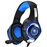 BlueFire Professional 3.5mm PS4 Gaming Headset Headphone with Mic and LED Lights for Playstation 4, Xbox one,Laptop, Computer (Blue) (Renewed)