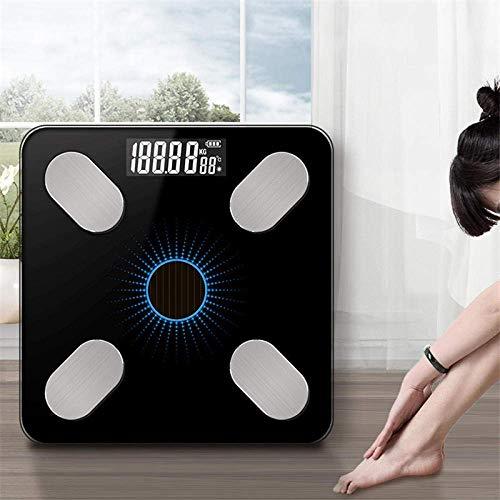 BINGFANG-W Con un Peso de Escala Escalas Bluetooth, Suelo de Peso Corporal báscula de baño, Inteligente Pantalla con iluminación Solar Escala electrónica, Músculo Escala de Masa Corporal IMC Cocina