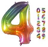Globo Gigante Multicolor Globos de Cumpleãnos I 101 CM Globo Años I Globo Numero I Decoracion Cumpleaños Niños I Globos Numeros Gigantes para Fiestas I Vuelan con Helio (Numero 4)