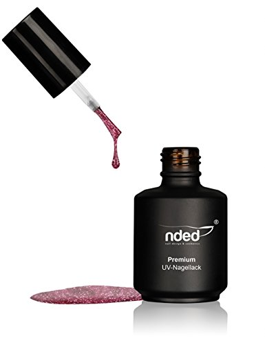 NDED Premium Vernis Semi-Permanent Paillettes Extrêmes Rose 15 ml