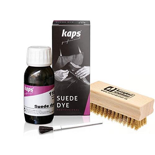 Langlauf Schuhbedarf  KAPS Wildlederfarbe mit Nubuk Messingbürste - Nubukfarbe Rauleder Suede Dye (ocker/108) Set