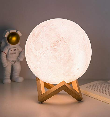 Moon Lamp Galaxy Night Light 3D Printing Dimmable Timer Moonlight 16 Colors with Stand & Remote & Touch Control & USB Rechargeable, Birthday Gift for Baby Kids Friend Party Bedroom (5.9 Inch)