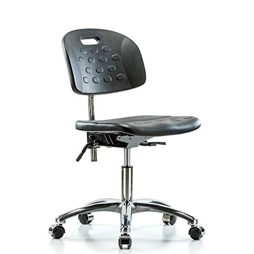Perch Clean Room Ergonomic Industrial Chair with Handle for Hard and Carpeted Floors, Desk Height