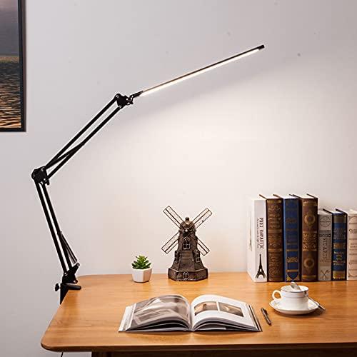 Lámpara de escritorio LED de 10 W, brazo giratorio, lámpara de trabajo, 3 colores, 10 niveles de brillo ajustable, protección para los ojos, lámpara de mesa para leer, trabajar, aprender (negro)