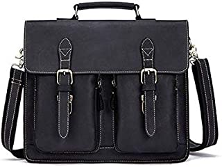 YXHM AU Men's Genuine Leather Retro Mad Horse Leather One-Shoulder Men's Bag (Color : Black)