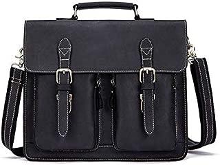YXHM AU Men's Genuine Leather Retro Mad Horse Leather One-Shoulder Men's Bag (Color : Black)