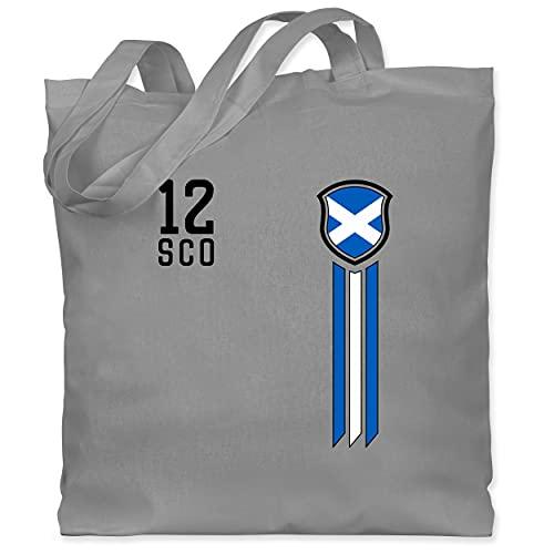 Fussball EM 2021 Fanartikel - 12. Mann Schottland Fanshirt - Unisize - Hellgrau - Flagge - WM101 - Stoffbeutel aus Baumwolle Jutebeutel lange Henkel