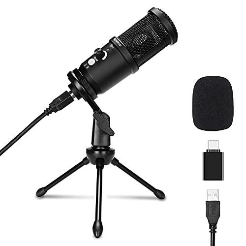 Microfono USB Nyuevo, Microfono a Condensatore da Studio 192kHz/24Bit con Riduzione del Rumore per Registrazioni Vocali, Live Streaming, Giochi, Youtube, Skype, Compatibile con laptop, PC