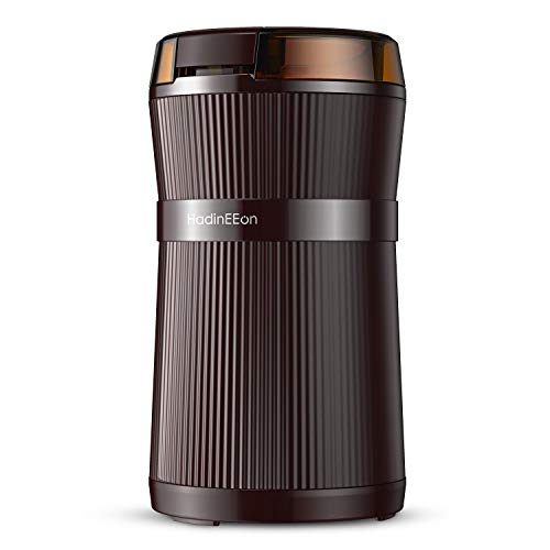 HadinEEon Electric Coffee Grinder, 200W Spice Grinder with Stainless Steel Blade & Bowl, One-Touch Control Coffee Bean Grinder for Nuts, Sugar, Grains, Clear Lid | Safety Switch | 50g/8 Cups | Brown