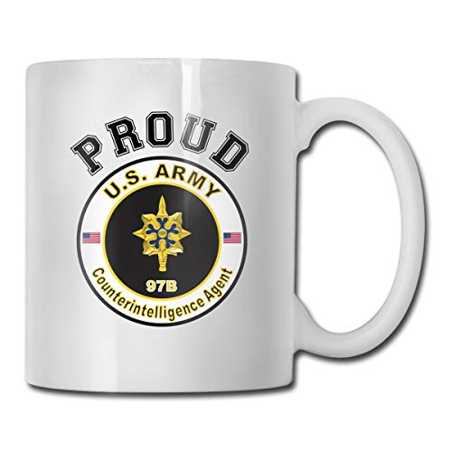 DSJRKSKEE Army MOS 97B Counterintelligence Agent Funny Gift Mug White Tea Brewing Cups 11 Oz