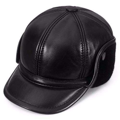 Echte Lederhut, Herren Herbst und Winter Lederhut Outdoor Ohrenschützer Baseball Cap