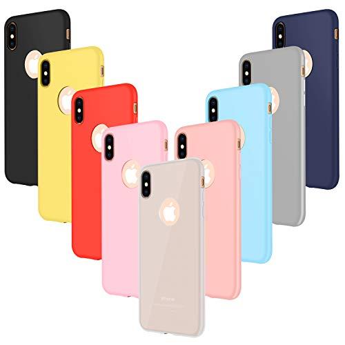 Leathlux 9X Funda iPhone XS MAX Silicona, Carcasa XS MAX Ultra Fina TPU Gel Protector Cover Case para iPhone XS MAX - Rosa, Verde, Púrpura, Azul Cielo, Amarillo, Rojo, Azul Oscuro, Translúcido, Negro