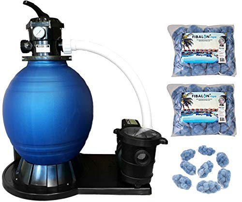 Well2wellness Zwembad Sandfilter Systeem Zwembad Filter D450 - Pomp Power Max. 14.400 L/H + 2 x 350g Filter Materiaal Fibalon Touw
