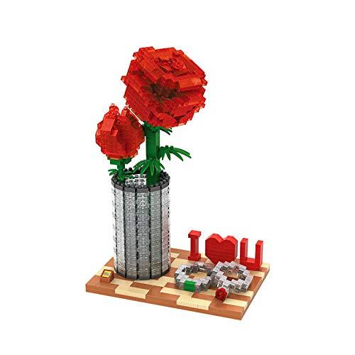 Mini Bloques de Construcción de Rosas Rojas, Puzzle 3D de DIY con Flores de Rosas, lo Mejor para Ella, Mamá, Esposa, Novia, Aniversario, día de la Madre, San Valentín, Boda