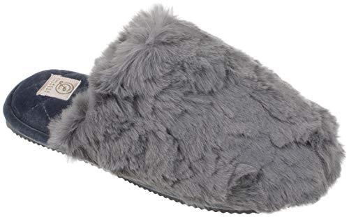 Chinese Laundry CL Womens Slippers with Memory Foam, Warm Plush Slip on Scuff Clog, Size Medium / 7-8, Heather Grey