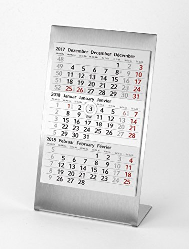 HiCuCo 3-Monats-Tischkalender für 3 Jahre (2020 + 2021 + 2022) - Aufstellkalender - Edelstahl - TypA1