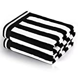 CASOFU Bath Towel Set, Cabana Stripe Bath Towels, Super Soft Cotton Bath Towels with Light Stripe - 100% Ring Spun Cotton Large Pool Towels - 2 Piece (Black, 2 Pack)