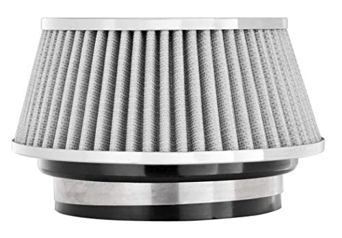 Spectre Performance Universal Clamp-On Air Filter: High Performance, Washable Filter: Round Tapered; 3 in/3.5 in/4 in Flange ID; 2.625 in (67 mm) Height; 6 in (152 mm) Base; 4.75 in (121 mm) Top, SPE-8168, white