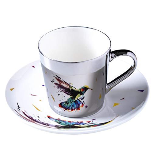 fanquare 250 ml Taza de Café de Reflejo del Espejo de Colibrí, Taza de café de porcelana plateado, juego de Taza de Café y platillo