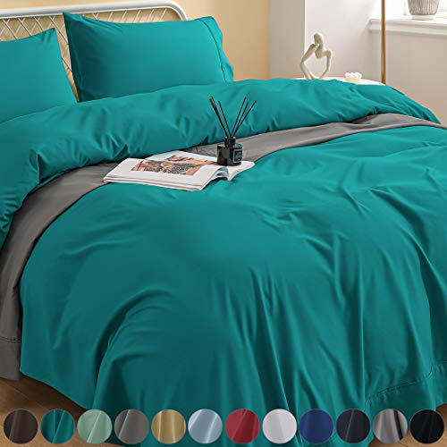 Newspin Bed Sheets Set, 1800 Series Soft Sheets Thicken Durable Double Brushed Microfiber Wrinkle Resistant Bedding Sheet fit 16 inch Deep Pockets Mattress(4 Piece King Sheet Set,Teal)