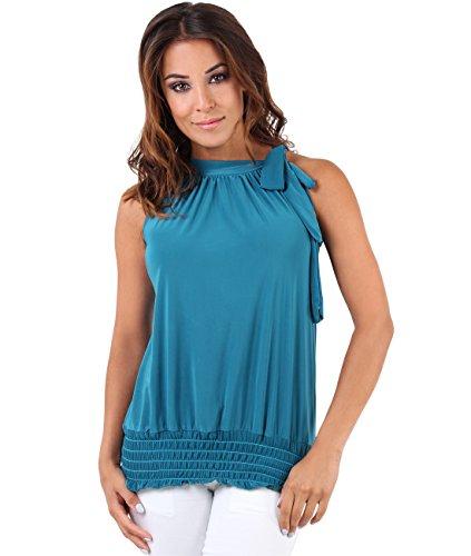 KRISP Top Mujer Fiesta Vestir Elegante Ancho Blusa Camiseta (48, Azul Verdoso (7571))