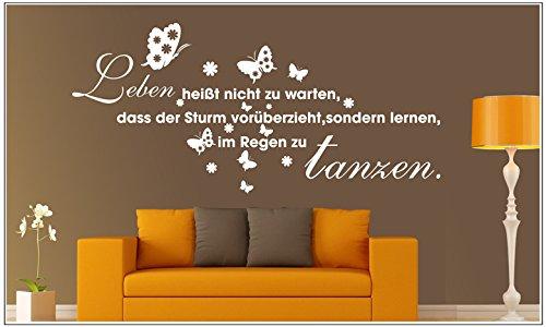 Deco-idea WandTattoo WandSpruch Spruch Zitat Leben heisst Nicht zu warten. wzt65(Printed Sticker,ca.15 x 6cm)
