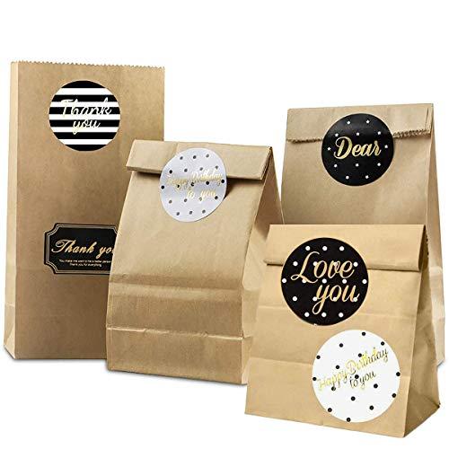 BOYATONG 100 Stück Braune Papiertüten,Ostern-Geschenktüte,Papiertüten Geschenktüten,Kraftpapiertüten,Brottüten,Candy Bar Tüten für Geburtstag,Hochzeit - 9x18x5.5cm