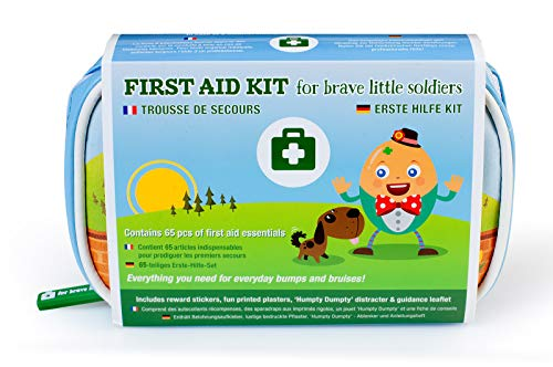 Reisebaby-Erste-Hilfe-Set von Yellodoor | 65-Piece MEDICAL GRADE Erste-Hilfe-Tasche für Kinder, Kleinkinder, Säuglinge und Babys | Enthält Fun Finger Puppet Distractor und Belohnungsaufkleber