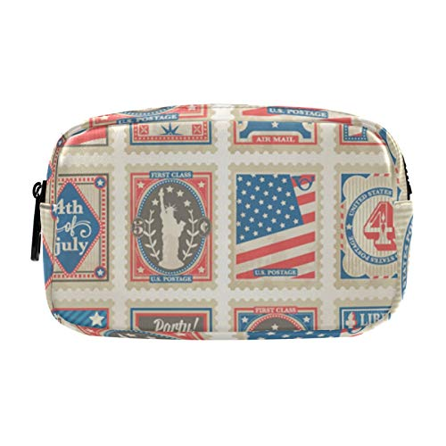 Gifts for Women, Makeup Bag, Cosmetic Bag, Toiletry Pouch Travel Accessories, Postage Stamps Set Independence Day